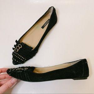 Shoe Mint Emily Black Suede Studded Flats